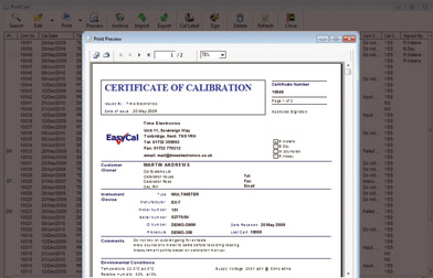 Calibration Certificates in PDF or for print